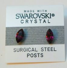 Purple Crystal Oval Stud Earrings 10mm Small Made with Swarovski Elements Gift