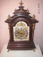 """Dorado Victoriano alemán-Metal montado Caoba Westminster Timbre manto Reloj 20""""H"""