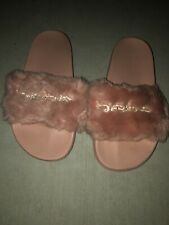 Bebe Pink Faux Fur Slides Sandals Size 8