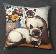 "Beautiful Handmade Cat And Flower Accent - Throw Pillow  14"" x 14"""