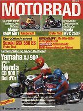 Motorrad 11 83 25.5.1983 Honda CX650 Turbo MVX 250 Yamaha XJ 900 Suzuki GSX550ES