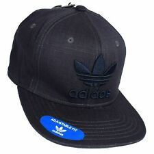 Adidas Snapback Hat Cap Dark Grey Embroidered Navy Trefoil Logo Ripstop NWT $26