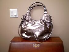 ADRIENNE VITTADINI 100% SHINY SILVER TWO WAY HANDBAG EXCELLENT CONDITION
