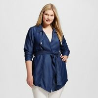 Forever Audrey Women's Plus Size 18W 2X Cropped Trench coat Chambray Lyocell