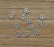 50 Small Rudder Ship Wheel Charms Bulk Charms Finding Antiuqe Silver 9x12 1128