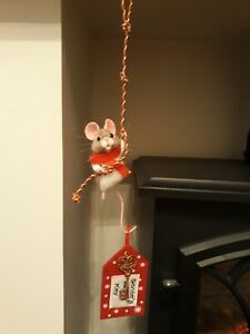 Ooak Needle Felted Original Dangling Chistmas Mouse Handmade By Nicky 🐭❤