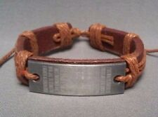"Christian Bracelet MED BROWN Leather Etched ""Our Father""  Facing Low Stock NEW!"