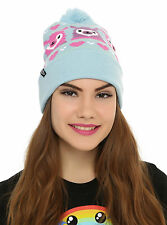ALPACA LLAMA Blue Fair Isle Embroidered Knit Fold Over Pom Pom Beanie Hat NEW
