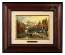 Thomas Kinkade The Valley of Peace 5 x 7 Framed Brushwork (Burl Frame)