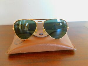 VTG B&L Ray-Ban Gold Frame Green Lens Aviator Glasses L0205 NXAS - Etched