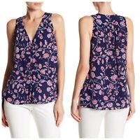 Rebecca Taylor Silk Kyoto Navy Blue & Pink Floral Sleeveless Blouse - Size 8