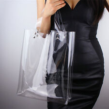 Clear Tote PVC Vinyl Plastic Large SHOPPER Shoulder Bag Transparent Silver Stud