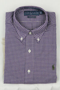 Ralph Lauren Small S Purple Cream Classic Dress Shirt Olive Green Pony NWT