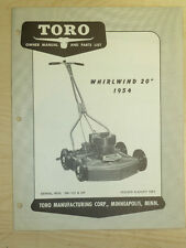 "1954 Toro Mower Operating Parts Manual Model Whirlwind 20"" Sn# 5W - 101 & Up"