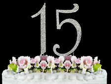 Large Rhinestone Cake Topper NUMBER (15) Quinceanera 15th Birthday  Anniversary