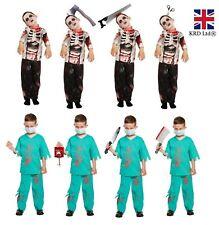 BOYS ZOMBIE COSTUME Kids Halloween Scary Fancy Dress Party Outfit Skeleton UK
