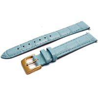 Apollo leather watch strap band Stitched croc grain 14mm aqua