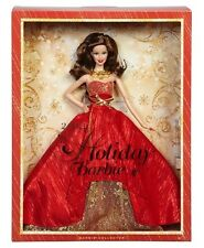 Barbie Doll Brunette Clothes Red Dress 2014 Holiday Mattel Collectors Edition