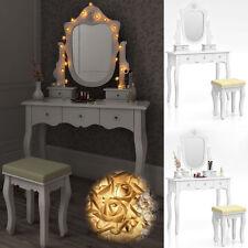 Modern Dressing Table Make Up Desk Drawers Mirror Lights Bedroom Vintage  Style