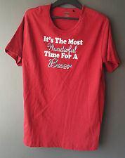 La Vie en Rose Man Red Graphic Tee Size L Time for a Beer Mens T-Shirt Crew Neck