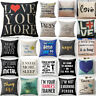 Vintage Funny Words Pillow Case Cotton Linen Throw Cushion Cover Home Decor