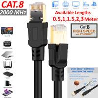 0.5m-3m Cat8 RJ45 Network LAN Ethernet Patch Lead Flat Cable 2000Mhz 25/40 D1B