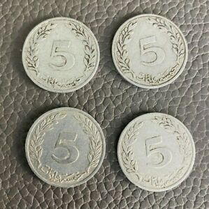 (4) Tunisia 1960 5 Millim Coins, aluminum