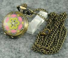 Retro Bronze Enamel Flower Quartz Pocket Watch Steampunk Necklace Pendant #F