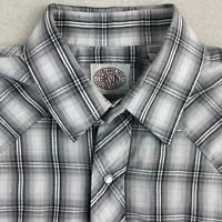 Gibson Button Up Shirt Mens L Gray Black White Long Sleeve Snap Closure Plaid