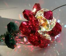 Flower Rose Suncatcher Made With Swarovski Crystal - Bordeaux Red  - Gift Box