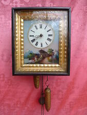 Bella, Antiguos Reloj Péndulo __ de la Selva Negra Cuadro __ Marco __