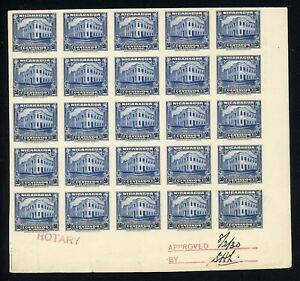 Nicaragua Specialized: MAXWELL #641 50c Post Office PLATE PROOF BLOCK 25 RRR $$$
