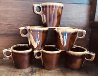 6 Vintage Hull Pottery Brown Drip Glaze Oven Proof USA Coffee Cups Mugs