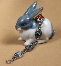 Sarah Coventry Semi-Precious Stones Cabs Faceted Gems Link Silvertone Bracelet