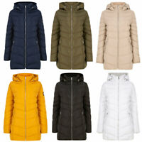 Tokyo Laundry Women's Puffer Jacket Longline Quilted Padded Hooded Coat Long