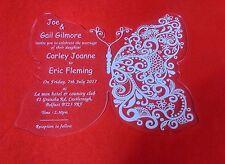 50 Personalised Luxury Royal Vutterfly Pertex Acrylic Wedding Invitations Invite