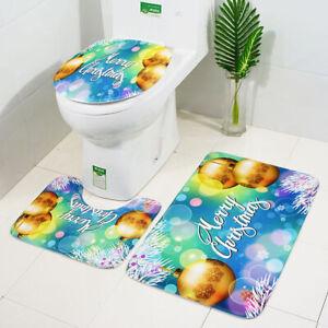 3Pcs Set Bathmat Bathroom Toilet Cover Bath Mat Non-Slip Rug Christmas Style