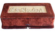 Antique Velvet And French Ivory Silverware Box , Circa 1900