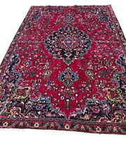RUG 129 Old Hand Knotted wool rug 6.2x9.1