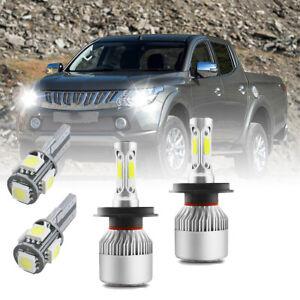 For Mitsubishi L200 2006-15 6500K White High/Low/LED Side Light Headlight Bulbs