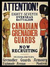 PROPAGANDA WAR WWI CANADA GUARDS GRENADIER ENLIST ART POSTER PRINT LV7171