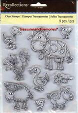 Clear Stamps FARM ANIMALS  Cow Pig Sheep Rooster Duck Lamb