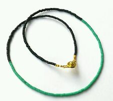 "Afghan Natural Malachite with Black Glass Tiny Seed Beads Necklace 16"" Handmade"