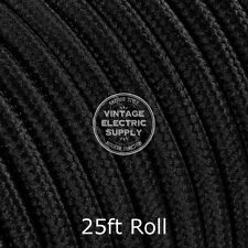 Black Round Cloth Covered Electrical Wire - Braided Rayon Fabric Wire - 25ft