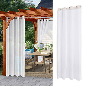 Sheer Curtain Eyelet Waterproof Drape Patio Privacy Voile Curtain 132x243cm