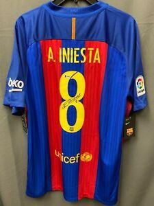 Andres Iniesta #8 Signed NIKE Barcelona Soccer Jersey AUTO BAS COA Sz L