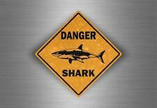 Autocollant sticker voiture moto tuning danger requin shark surf surfeur mural