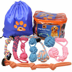 Dog Toys - 8 Large Dog Rope Toys for Medium and Large Dogs- BK