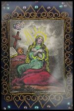 † c.1850 PENITENT ST MARY MAGDALENE RELIQUARY FRENCH ENGRAVING WATER COLORED †