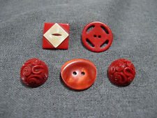 New listing Vintage art deco celluloid, galalith & plastic red buttons lot